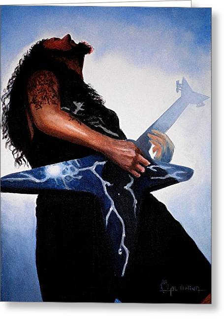 Abbott Greeting Cards - Dimebag is GD Electric Greeting Card by Al  Molina