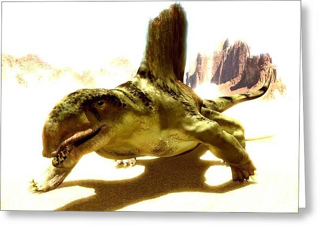 Missing Greeting Cards - Dimetrodon, Artwork Greeting Card by Christian Darkin