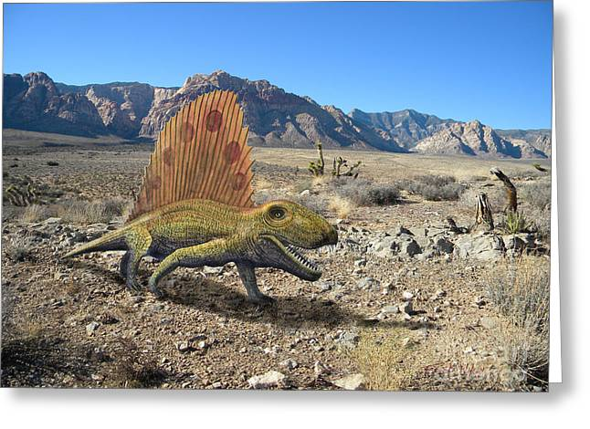 Dinosaurs Greeting Cards - Dimetrodon In The Desert Greeting Card by Frank Wilson