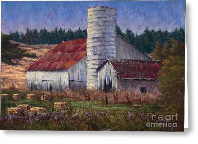 Red Roofed Barn Pastels Greeting Cards - Diminishing Returns Greeting Card by Debbie Harding
