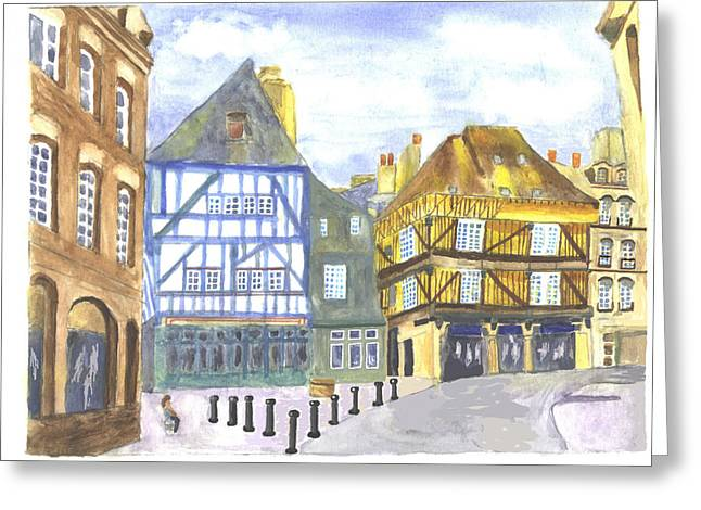 Town Square Greeting Cards - Dinan Old Town Brittany Greeting Card by Michelle Archer