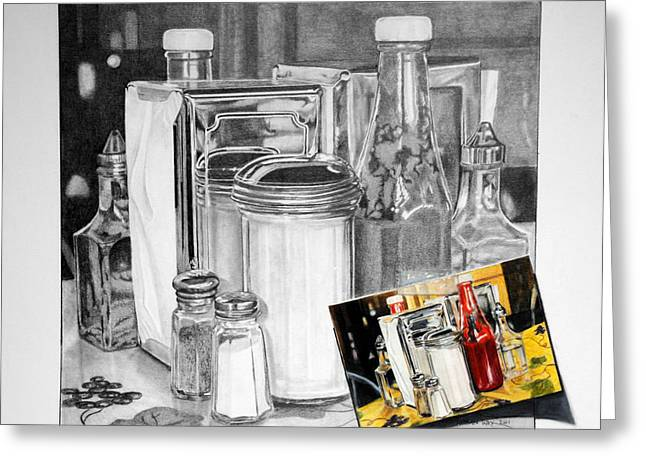 Vinegar Drawings Greeting Cards - Diner Study Greeting Card by Duncan  Way