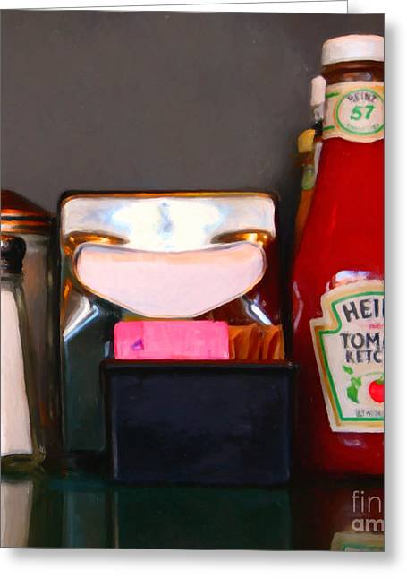Heinz Ketchup Greeting Cards - Diner Table Condiments and Other Items - 5D18035- Painterly Greeting Card by Wingsdomain Art and Photography