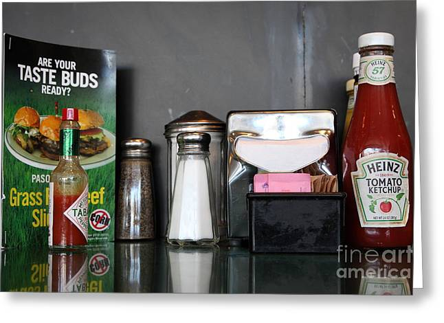Heinz Ketchup Greeting Cards - Diner Table Condiments and Other Items - 5D18035 Greeting Card by Wingsdomain Art and Photography