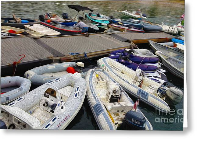 Inflatable Greeting Cards - Dinghy Docking Greeting Card by Cheryl Young