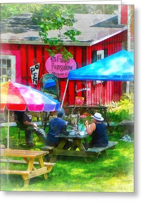 Cafe Greeting Cards - Dining Al Fresco Greeting Card by Susan Savad