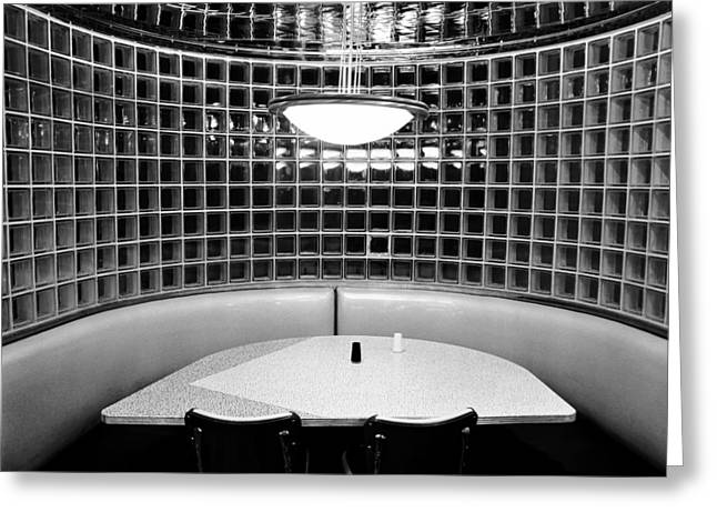 Table And Chairs Greeting Cards - Dining in black and white Greeting Card by David Lee Thompson