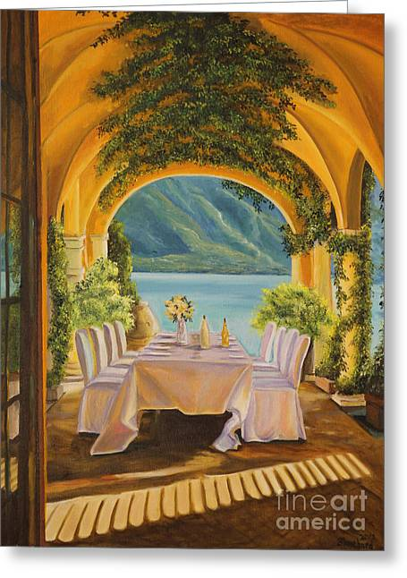 Lake Como Paintings Greeting Cards - Dining on Lake Como Greeting Card by Charlotte Blanchard