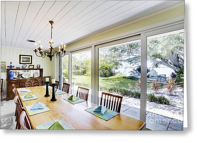 Centerpiece Greeting Cards - Dining Room and Patio Windows Greeting Card by Skip Nall