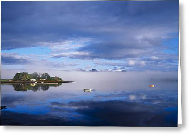 Boats In Reflecting Water Photographs Greeting Cards - Dinish Island, Kenmare Bay, County Greeting Card by The Irish Image Collection