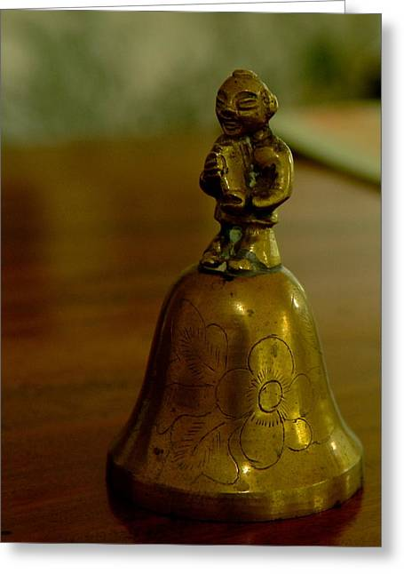 Brass Pyrography Greeting Cards - Dinner Bell Greeting Card by Doug Bartholomew