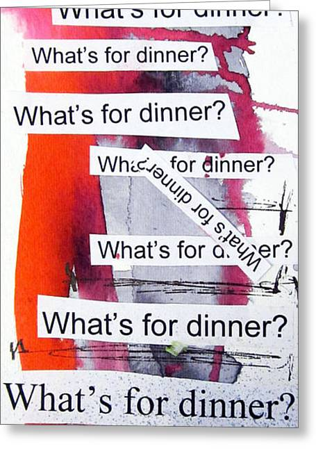 Outsider Art Mixed Media Greeting Cards - Dinner Greeting Card by Linda Woods