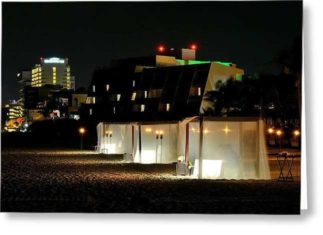 Torchlight Greeting Cards - Dinner On The Beach Greeting Card by Ronnie Reffin
