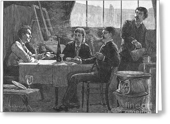 Smoker Greeting Cards - Dinner Party, 1887 Greeting Card by Granger