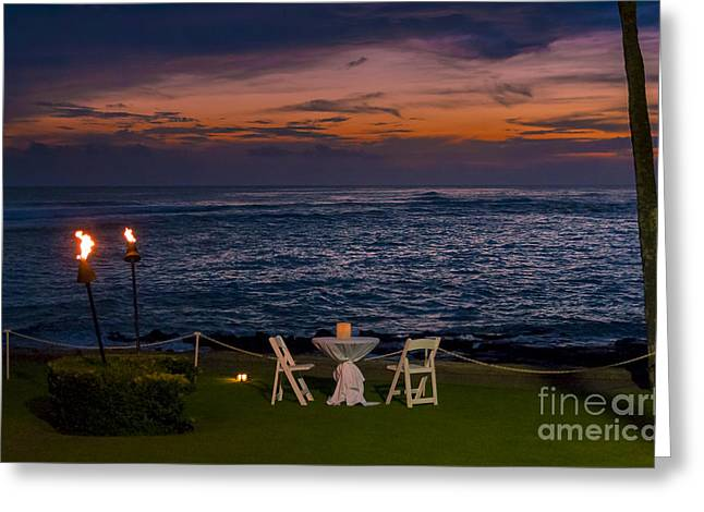 Dinner Setting In Paradise Greeting Card by Darcy Michaelchuk