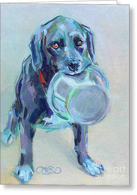Lab Mix Greeting Cards - Dinnertime Dutchess Greeting Card by Kimberly Santini