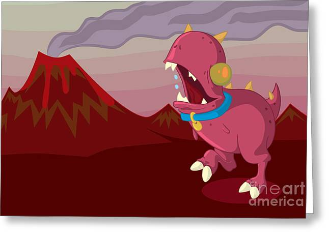 Red Digital Art Greeting Cards - Dino Greeting Card by Kyle Harper
