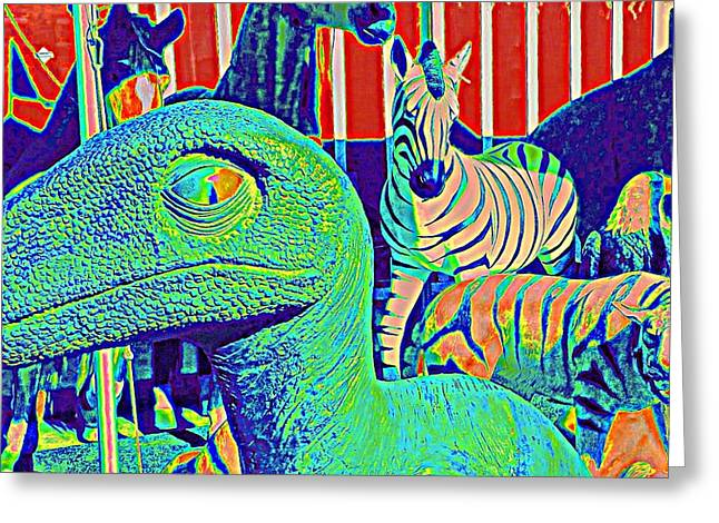 Animal Sculptures Greeting Cards - Dinosaur and Friends Greeting Card by Randall Weidner