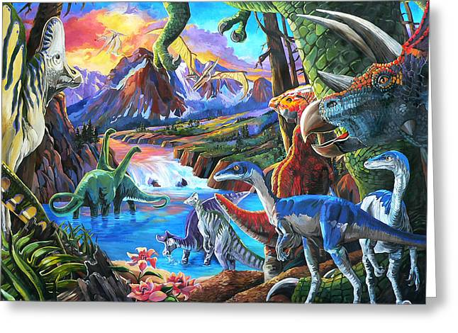 Recently Sold -  - Nadi Spencer Greeting Cards - Dinosaur Greeting Card by Nadi Spencer