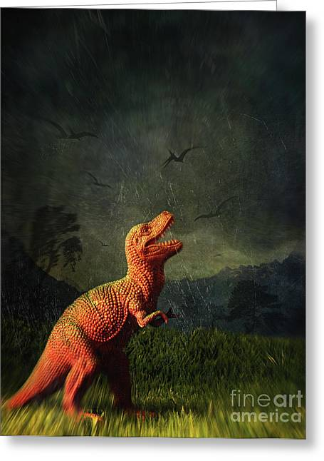 Fossil Greeting Cards - Dinosaur toy figure in surreal landscape Greeting Card by Sandra Cunningham