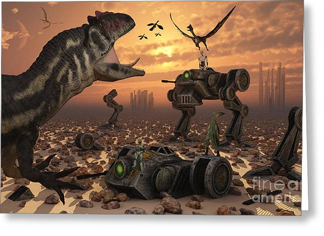 Existence Greeting Cards - Dinosaurs And Robots Fight A War Greeting Card by Mark Stevenson