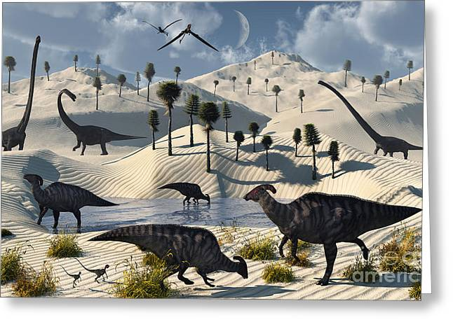 Saurischia Greeting Cards - Dinosaurs Gather At A Life Saving Oasis Greeting Card by Mark Stevenson