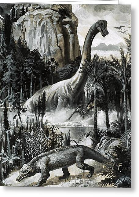Payne Greeting Cards - Dinosaurs Greeting Card by Roger Payne