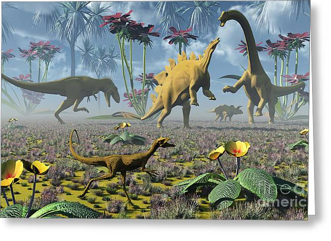 Armor Concept Greeting Cards - Dinosaurs Running Around An Imaginative Greeting Card by Mark Stevenson