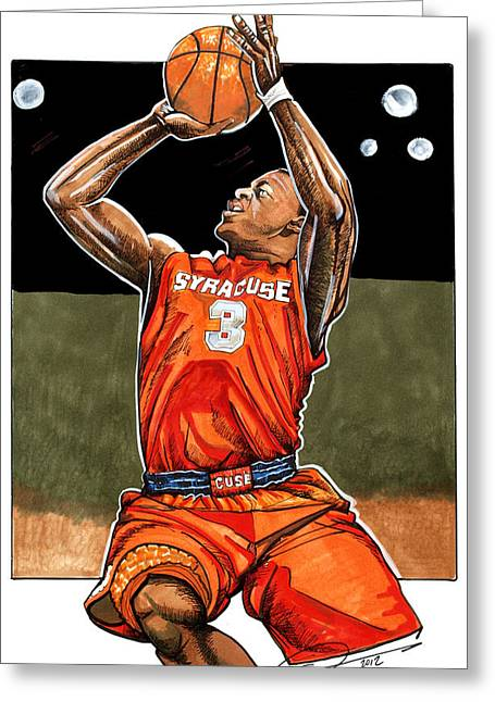 Ncaa Drawings Greeting Cards - Dion Waiters Greeting Card by Dave Olsen