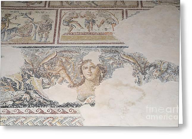 Psi Greeting Cards - Dionysus Mosaic Mona Lisa of the Galilee Greeting Card by Ilan Rosen