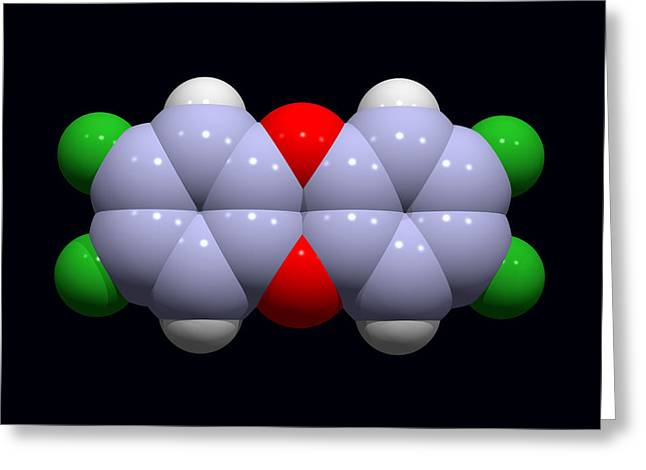 Carcinogenic Greeting Cards - Dioxin Molecule Greeting Card by Dr Tim Evans