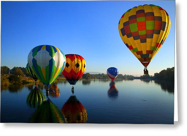 Hot Air Balloon Photographs Greeting Cards - Dip and Go Greeting Card by Mike  Dawson