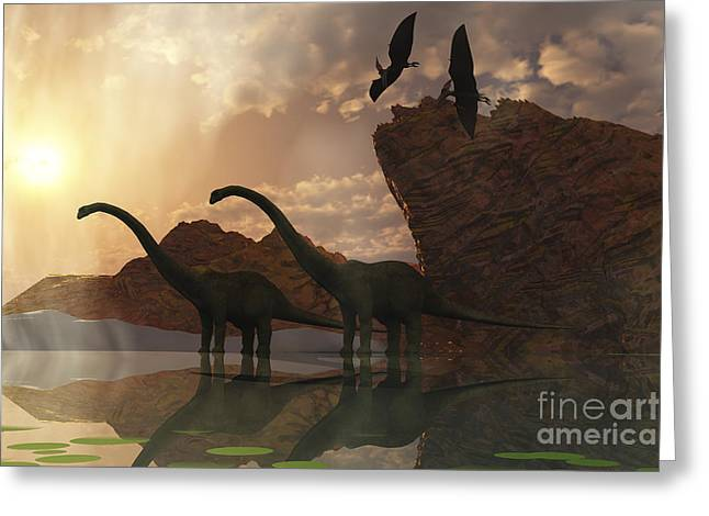 Saurischia Greeting Cards - Diplodocus Dinosaurs And Pterodactyl Greeting Card by Corey Ford