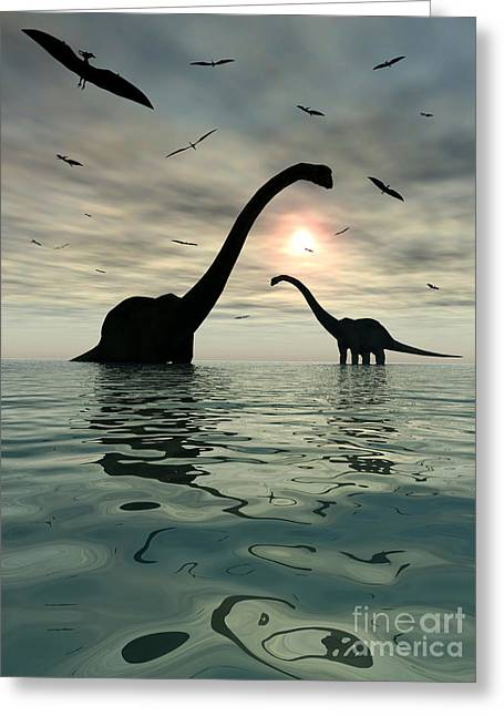 Existence Greeting Cards - Diplodocus Dinosaurs Bathe In A Large Greeting Card by Mark Stevenson
