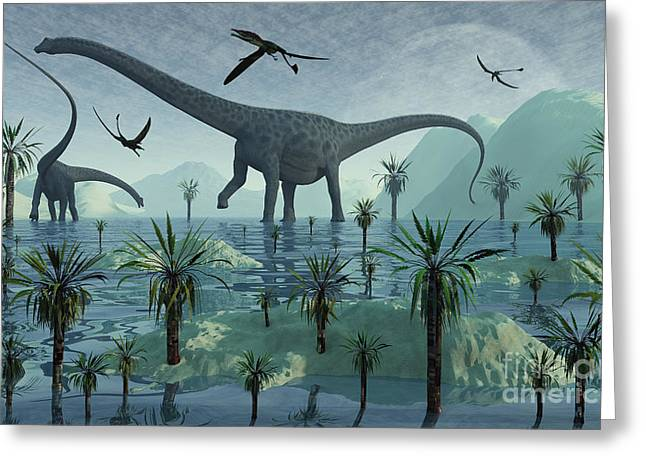 Saurischia Greeting Cards - Diplodocus Dinosaurs Greeting Card by Mark Stevenson