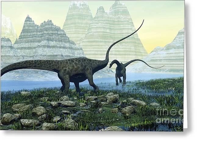 Diplodocus Digital Greeting Cards - Diplodocus Dinosaurs Munch Greeting Card by Corey Ford