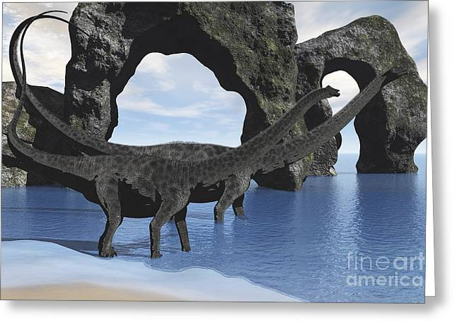 Island .oasis Greeting Cards - Diplodocus Dinosaurs Wade Greeting Card by Corey Ford