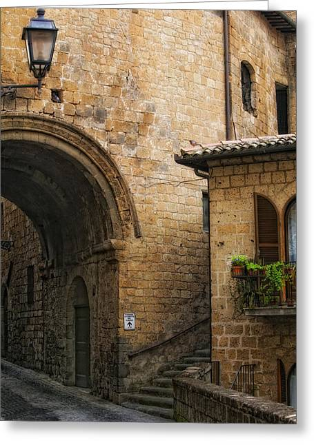 Orvieto Greeting Cards - Direction to Ristorante Le Grotte del Funaro Greeting Card by Lynn Andrews