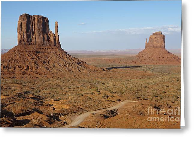 Scrub Brush Greeting Cards - Dirt Road and Mesas in the Desert Greeting Card by Paul Edmondson