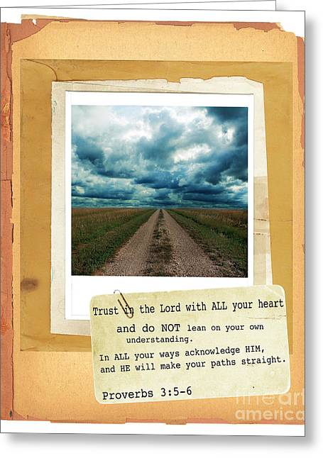 Bible Verse Greeting Cards - Dirt Road with Scripture Verse Greeting Card by Jill Battaglia