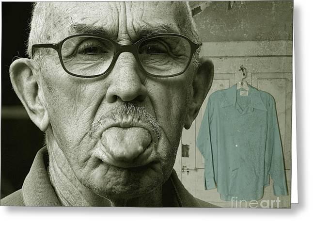 Blue Shirt Greeting Cards - Dirty Blue Shirt Greeting Card by Jan Piller