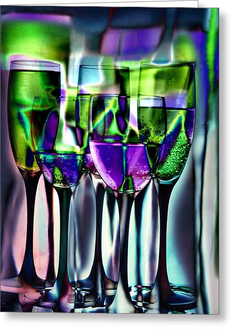 Reflection Glass Greeting Cards - Wine glasses with colorful drinks  Greeting Card by   larisa Fedotova
