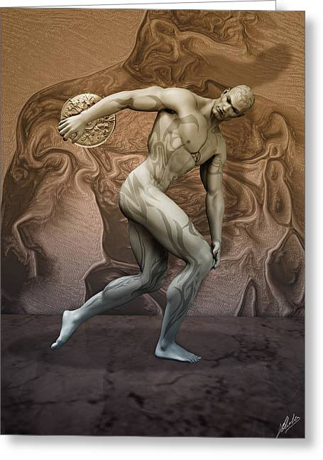 Muscular Digital Art Greeting Cards - Discobolus tattooed Greeting Card by Joaquin Abella