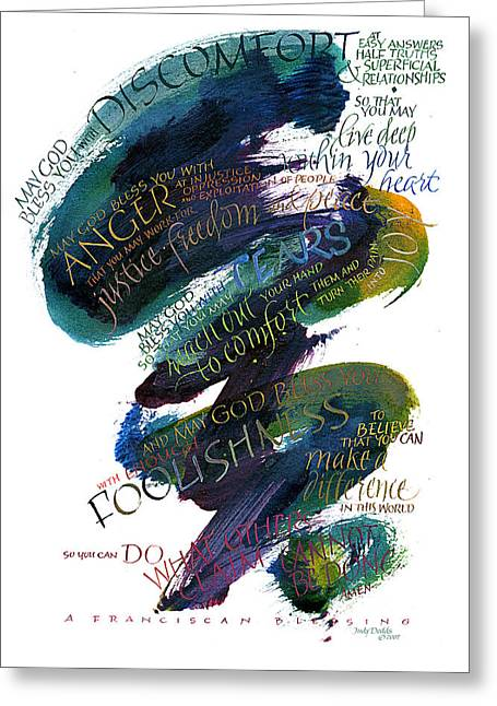 Conviction Greeting Cards - Discomfort Blue Greeting Card by Judy Dodds