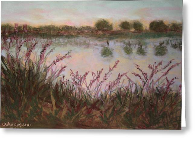 Nature Center Pastels Greeting Cards - Discovering Mitchell Lake Greeting Card by Cindy Morawski