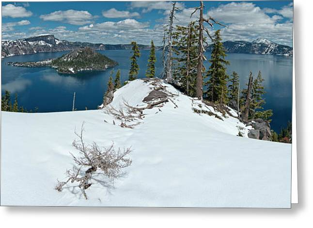 Crater Lake Panorama Greeting Cards - Discovery Point Panorama Greeting Card by Greg Nyquist