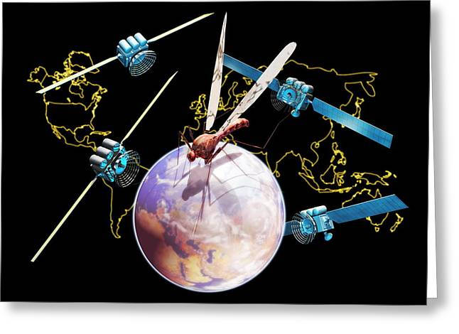 Quartet Greeting Cards - Disease-watching Satellites Greeting Card by Victor Habbick Visions
