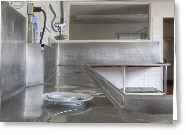 Stainless Steel Greeting Cards - Dish Washing Area Of Commercial Kitchen Greeting Card by Douglas Orton