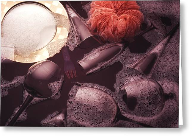 Dishes In Black Sink Greeting Card by Ron Schwager