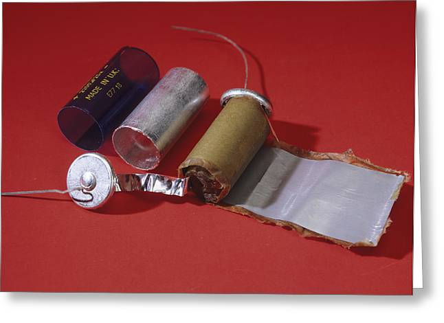 Capacitors Greeting Cards - Dismantled Capacitor Greeting Card by Andrew Lambert Photography